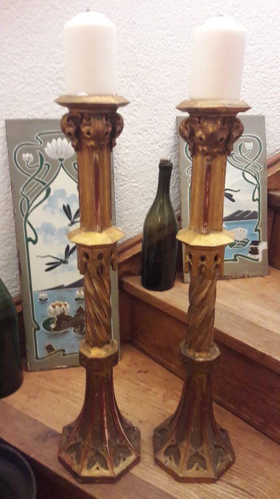 2 x Kerzenständer, Antik, Holz, 61 cm hoch - einzigartiges